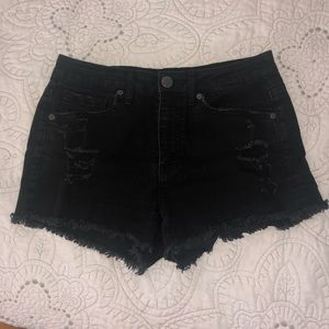 Aeropostale black highrise distressed denim shorts